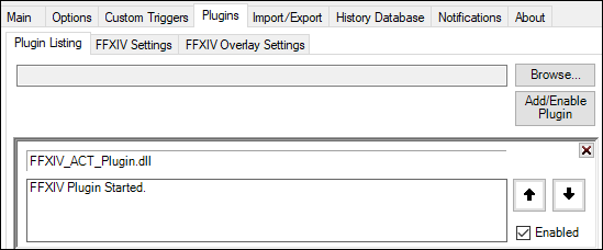 ACT plugin enabled